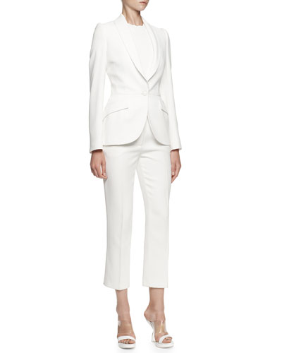Alexander McQueen Single-Button Shawl-Collar Jacket, Solid Crewneck Top & Cropped Leaf Crepe Pants