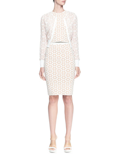 Alexander McQueen Banded Bicolor Cardigan, Embossed Racer Top & Embossed Pencil Skirt