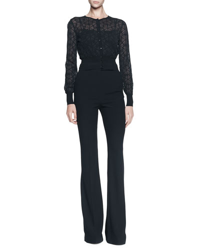 Alexander McQueen Cutout Flower Cropped Cardigan and Flat-Front Flared Pants