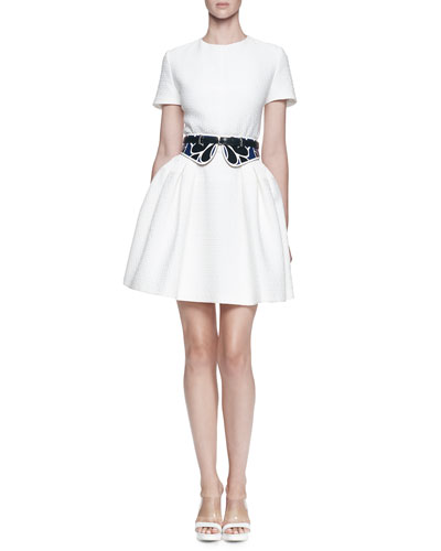 Alexander McQueen Floral Pique Full Dress and Bustino Floral-Print Leather Belt