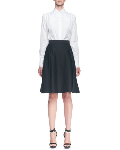 Alexander McQueen Long-Sleeve Hidden-Placket Cutaway Blouse & A-Line Side Button Overlay Skirt