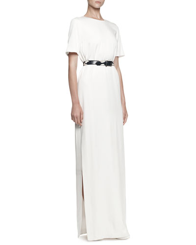 Alexander McQueen Short-Sleeve Crepe Satin Gown & Thin Watersnake Belt
