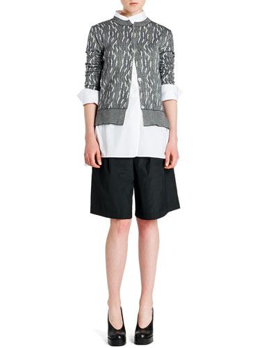 Abstract Intarsia Cardigan, One-Pocket Blouse & Teddy Bermuda Shorts