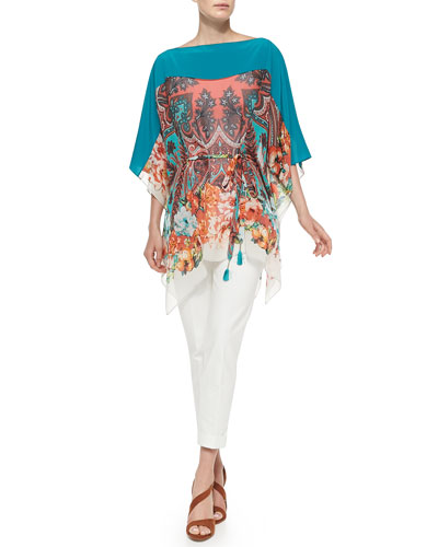 Paisley Poncho Top W/ Self-Tie Belt & Cuffed Cigarette Capri Pants