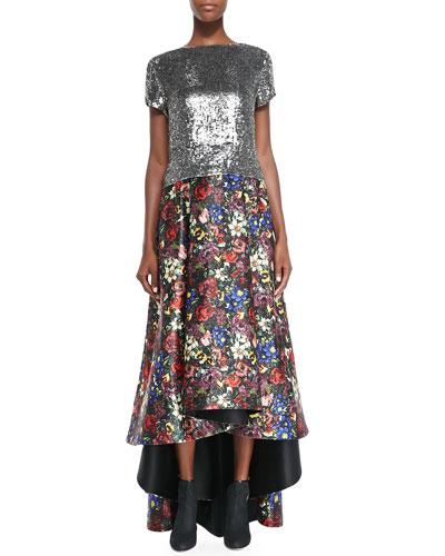 Alice + Olivia Sarita Short-Sleeve Sequined Tee & Tina Floral-Print Ballgown Skirt