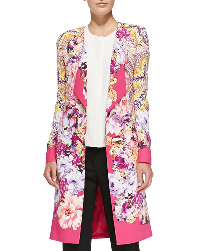 One-Button Paisley & Floral Cardigan & 1/2-Sleeve Hidden-Placket Silk Blouse