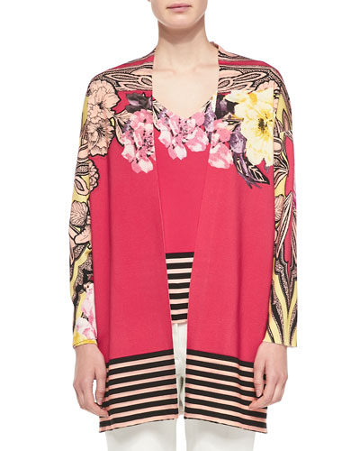 Floral Cardigan W/ Striped Hem & Long-Sleeve Floral Top W/ Striped Hem