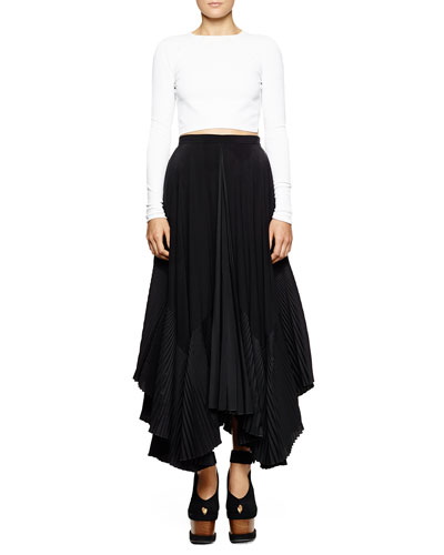 Stella McCartney Open-Back Cropped Knit Sweater & Pleated-Inset A-Line Silk Skirt