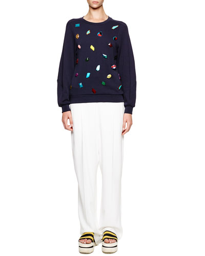 Stella McCartney Jeweled Knit Crewneck Sweatshirt & Soft Pleated Fluid Crepe Trousers
