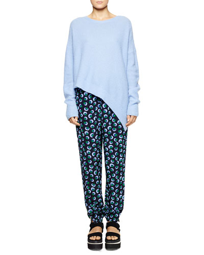 Stella McCartney Ribbed Knit Loose Asymmetric Sweater & Stripe-Waist Printed Ankle Pants