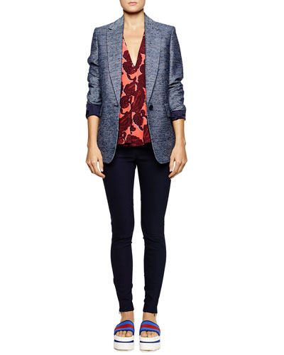 Stella McCartney Long Tweed Single-Button Blazer, Paisley-Print V-Neck Silk Top & Zipper-Cuff Pull-On Leggings