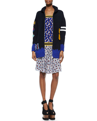 Stella McCartney Varsity-Style Starling-Applique Sweater & Banded Strapless Printed Blouson Dress