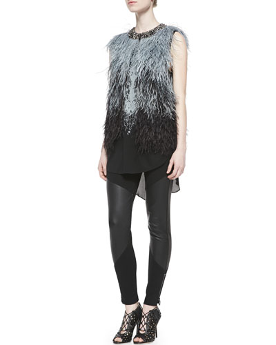 5ftp Haute Hippie Ostrich Feather Vest W Embellished