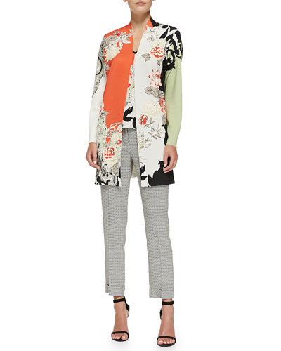 Long Floral Colorblock Cardigan, Sleeveless Floral Colorblock Top & Cuffed Micro Geo-Print Capri Pants