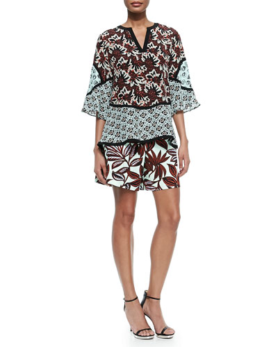 3/4-Sleeve Jagged Floral Silk Boho Tunic & Palm-Print Pleated Shorts