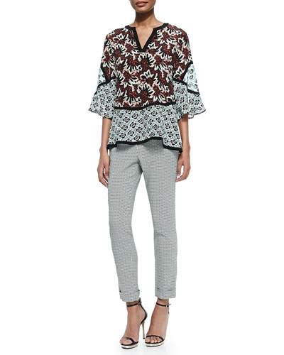 3/4-Sleeve Jagged Floral Silk Boho Tunic & Cuffed Micro Geo-Print Capri Pants