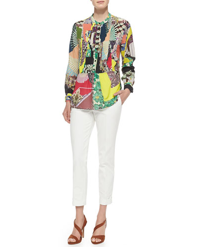Long-Sleeve Patch-Print Blouse W/ Peplum & Cuffed Cigarette Capri Pants