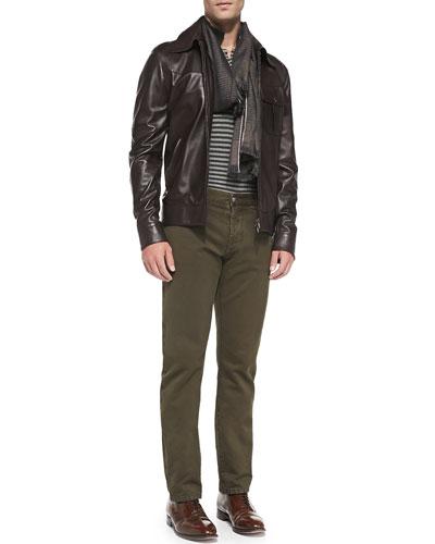 Napa Leather Jacket, Stripe Short-Sleeve Polo & Straight-Leg Denim Jeans