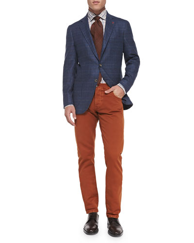 Windowpane Two-Button Jacket & Straight-Leg Denim Jeans