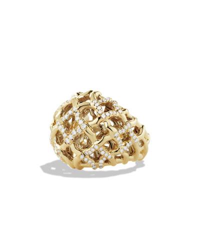 David Yurman Venetian Quatrefoil Dome Ring with Diamonds in Gold