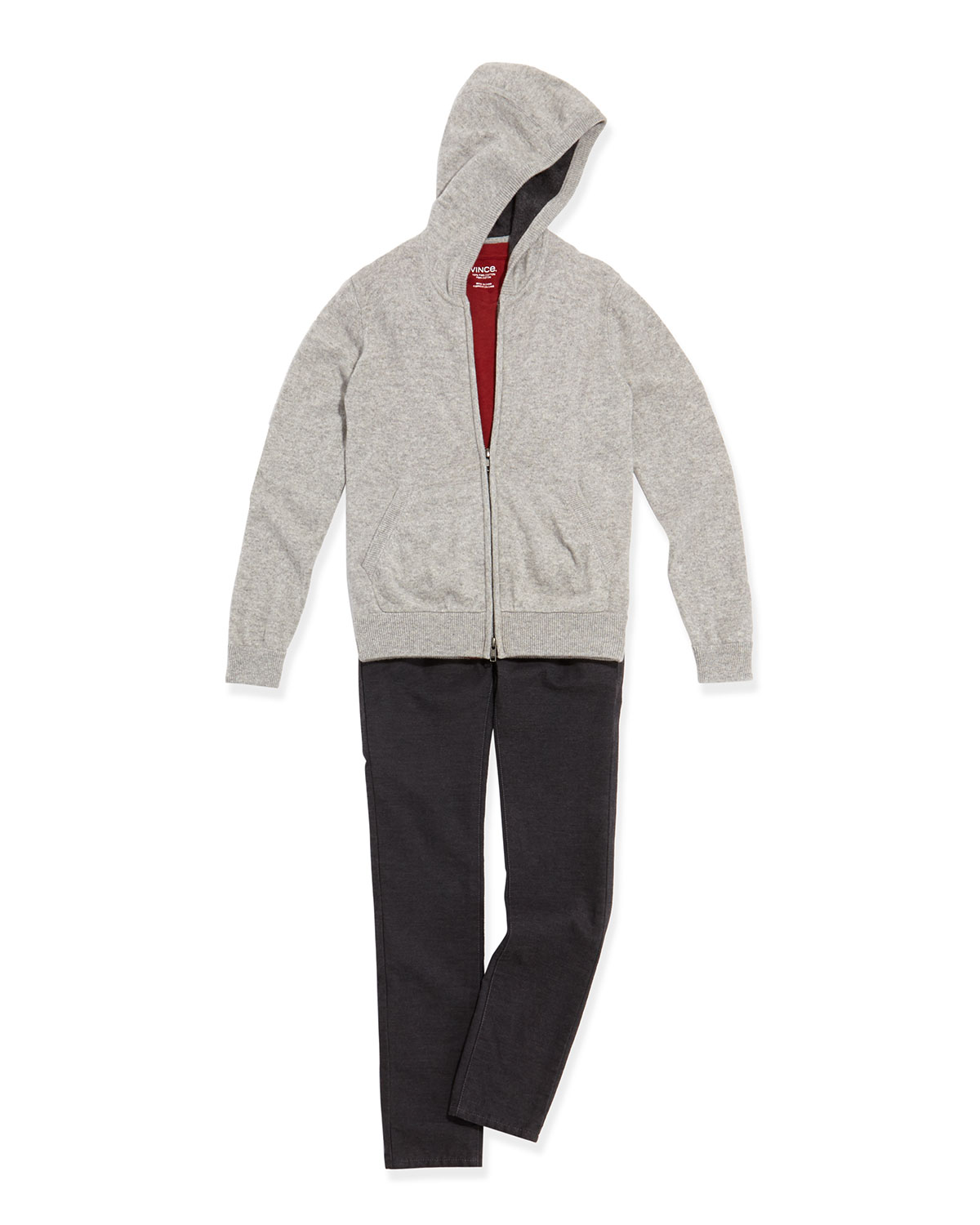 Cashmere Zip Hoodie, Boy's Favorite V-Neck Tee & Brushed Heathered Pants