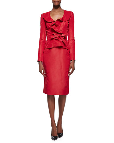 Oscar de la Renta Bow-Front Cocktail Blazer & Midi-Length Pencil Skirt