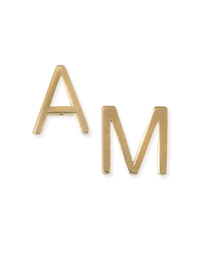 Yellow Gold Mini Initial Earrings (Sold Separately)