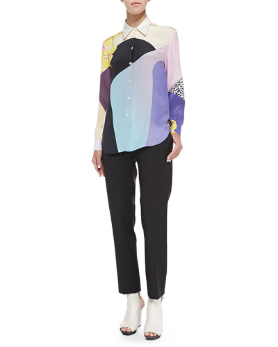3.1 Phillip Lim Long-Sleeve Printed Button-Down Blouse & Cropped Crepe Pencil Trousers