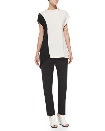 3.1 Phillip Lim Horizon Short-Sleeve Side-Drape Top & Cropped Crepe Pencil Trousers
