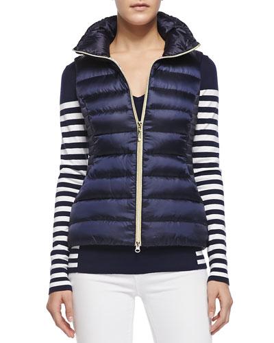 Adelaide V-Neck Striped Sweater & Allie Zip Puffer Vest