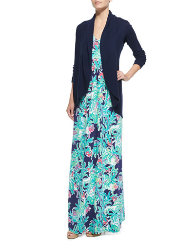 Hayden Open Cardigan & Sloane Printed Maxi Dress