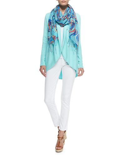 Hayden Open Cardigan, Worth Skinny Jean & Murfee Silk-Cashmere Print Scarf