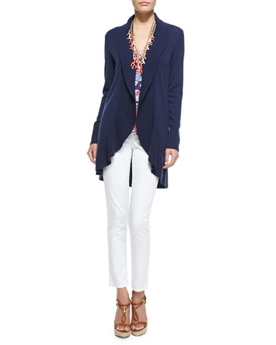 Linsday Cashmere Cardigan, Printed Dusk Racerback Tank, Worth Skinny Jeans & Good Reef Coral Necklace