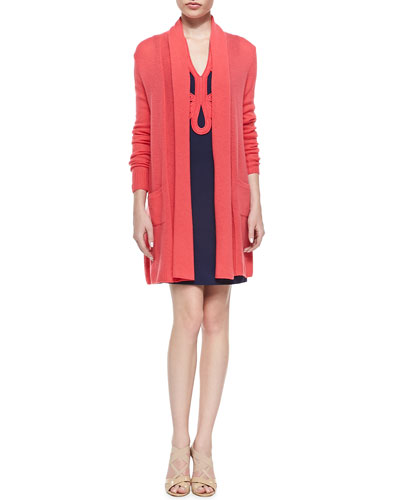 Estelle Long Cardigan with Pockets & Janice Ottoman Dress with Soutache Trim