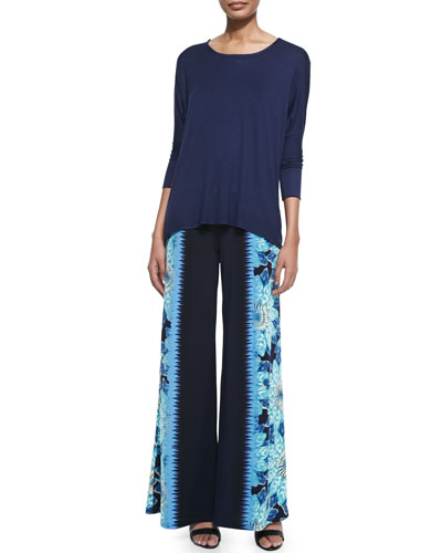 Jersey Dolman-Sleeve Top & Floral-Print Colorfield Pants