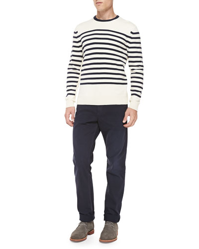Chase Striped Crewneck Sweater & Five-Pocket Relaxed Trousers