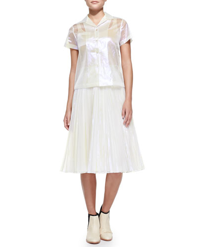 Short-Sleeve Sheer Iridescent Blouse & Pleated Iridescent A-Line Skirt