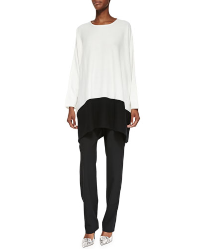 Cashmere Tunic Sweater W/ Colorblock Hem & Mid-Rise Narrow-Leg Trousers