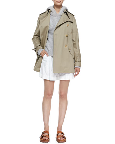 Convertible Cape/Trench Jacket, Shaker-Knit Cashmere Hoodie & Pleated Trouser Shorts