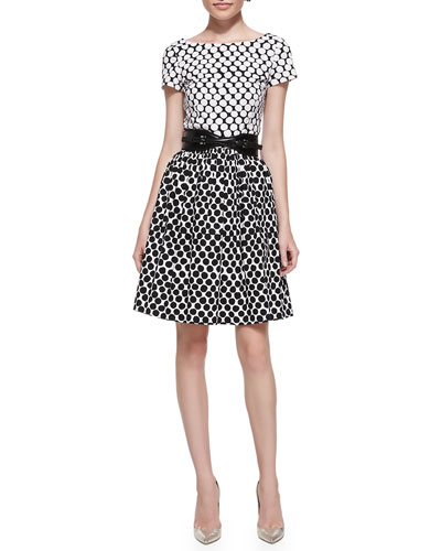 Oscar de la Renta Short-Sleeve Polka-Dot Contrast Dress & Contoured Belt