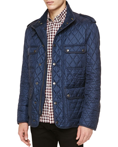 Diamond-Quilted Field Jacket & Gingham-Check Woven Shirt