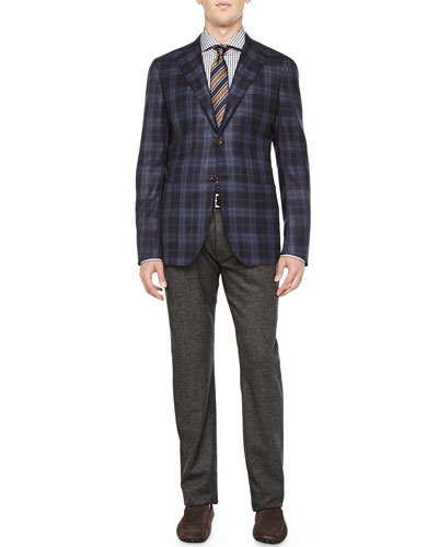 Cashmere Plaid Jacket, Plaid Ultrafine-Woven Shirt & Melange 5-Pocket Trousers