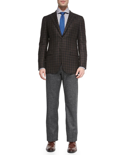 Two-Button Check Blazer & Melange 5-Pocket Trousers