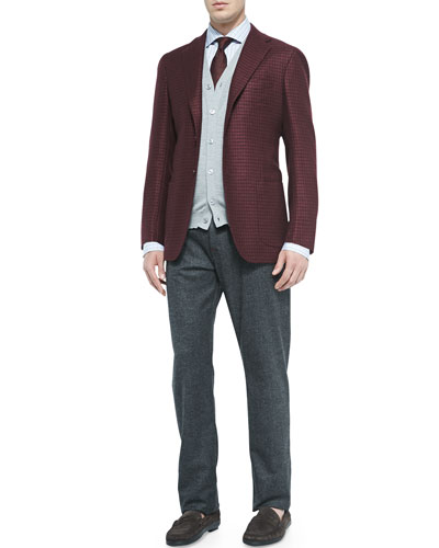 Houndstooth Three-Button Jacket, Cashmere/Silk Cardigan Vest, Plaid Ultrafine-Woven Shirt & Fine-Wale Corduroy Trousers