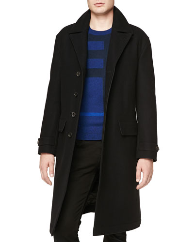 Halston Long Button-Front Coat & Needle-Punch Check Crewneck Sweater