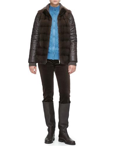 Loro Piana Quilted Leather/Mink Fur Jacket, Cashmere Cable Bomber Cardigan & Mathias Matte Velvet Pants