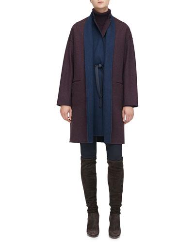 Loro Piana Layered Reversible Coat, Cashmere Turtleneck Sweaterdress & Devin Stretch Cotton Pants
