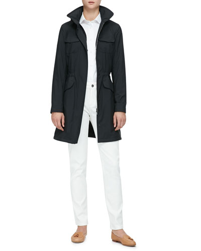 Freetime Long Trench Coat with Flap Pockets, Kara Blouse & Mathias High-Rise Straight-Leg Jeans