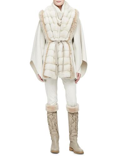 Loro Piana Mink/Fox Fur Park Lane Cape, Cashmere Melange Sweater with Detachable Cowl & Riding Pants