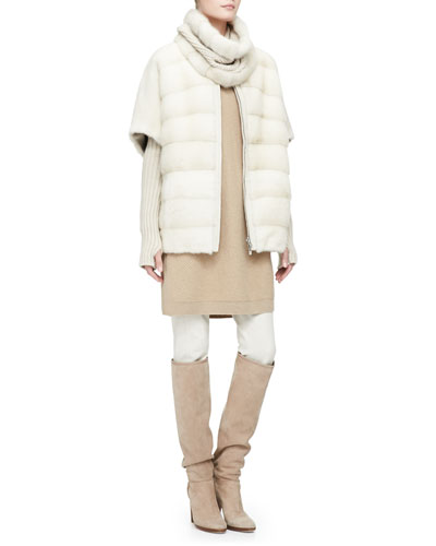 Loro Piana 3-in-1 Mink Fur Gilet with Detachable Cowl and Arm Warmers, Cashmere Sweaterdress with Removable Chinchilla Fur Cowl & Riding Pants
